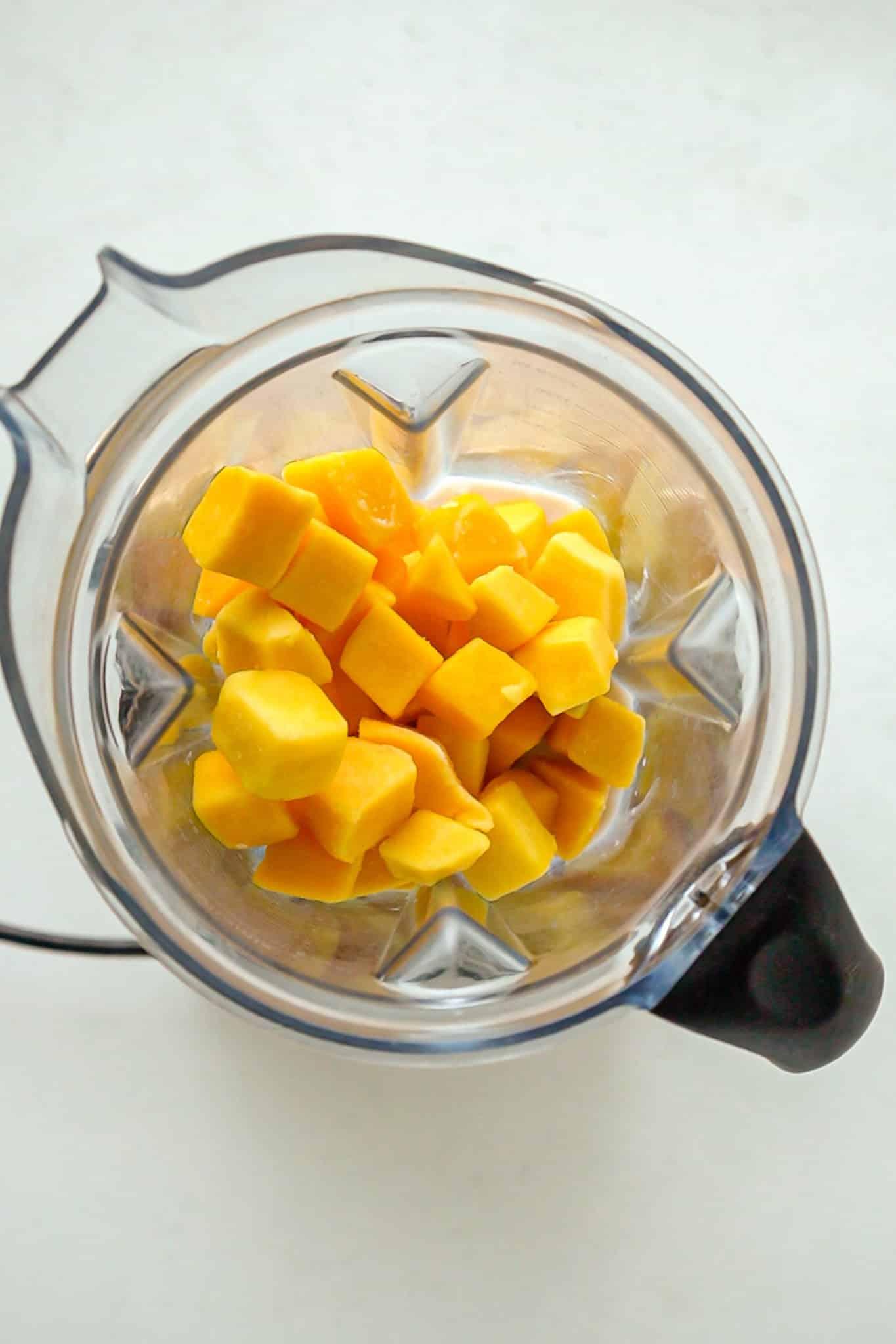 frozen mango in a vitamix
