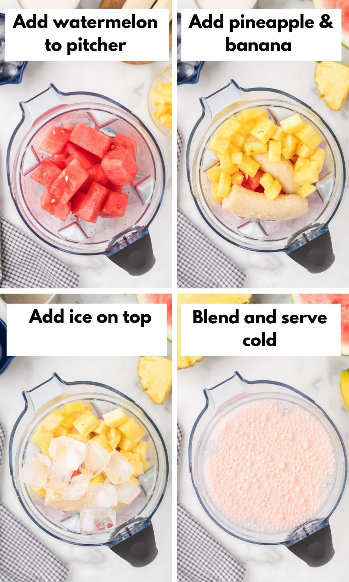process photos for how to make this watermelon banana smoothie