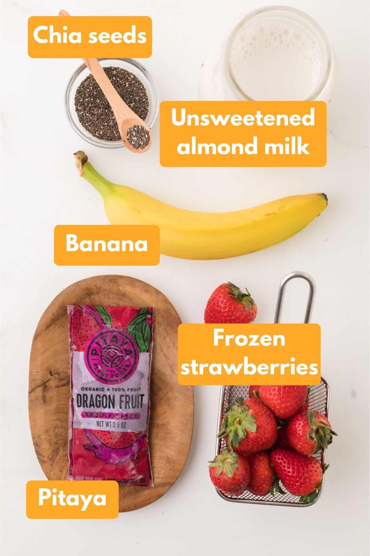 ingredients for a purple dragon fruit banana smoothie