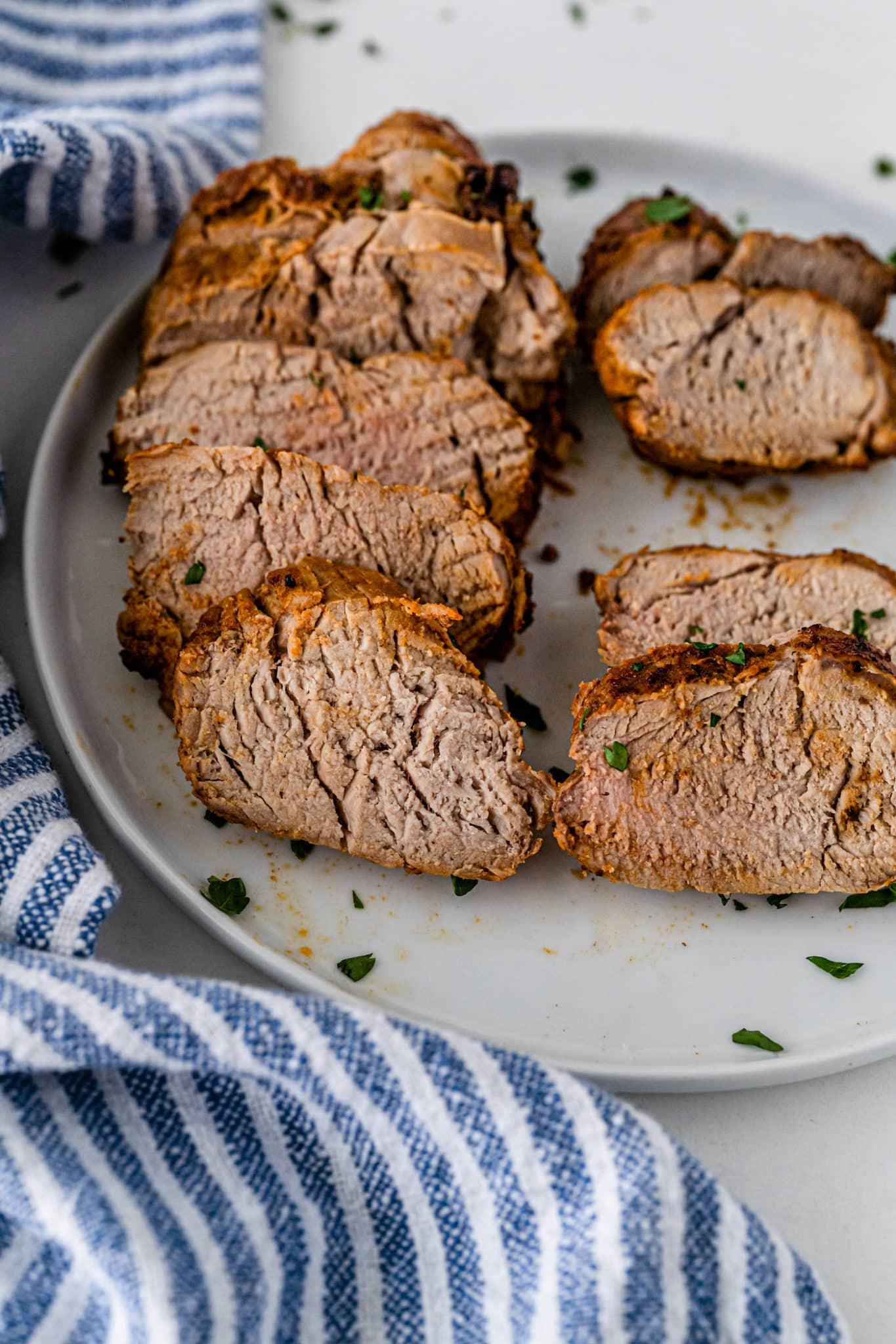 sliced roast on serving plate