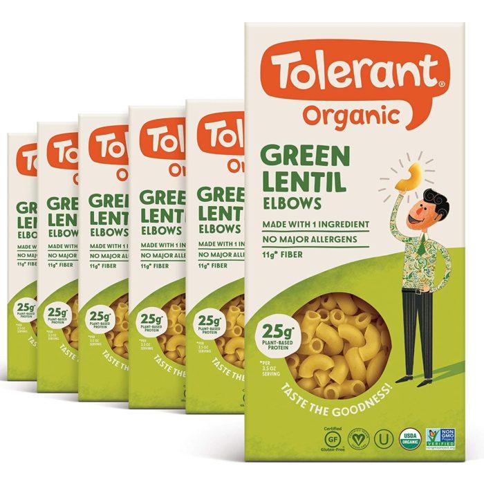 tolerant green lentil pasta