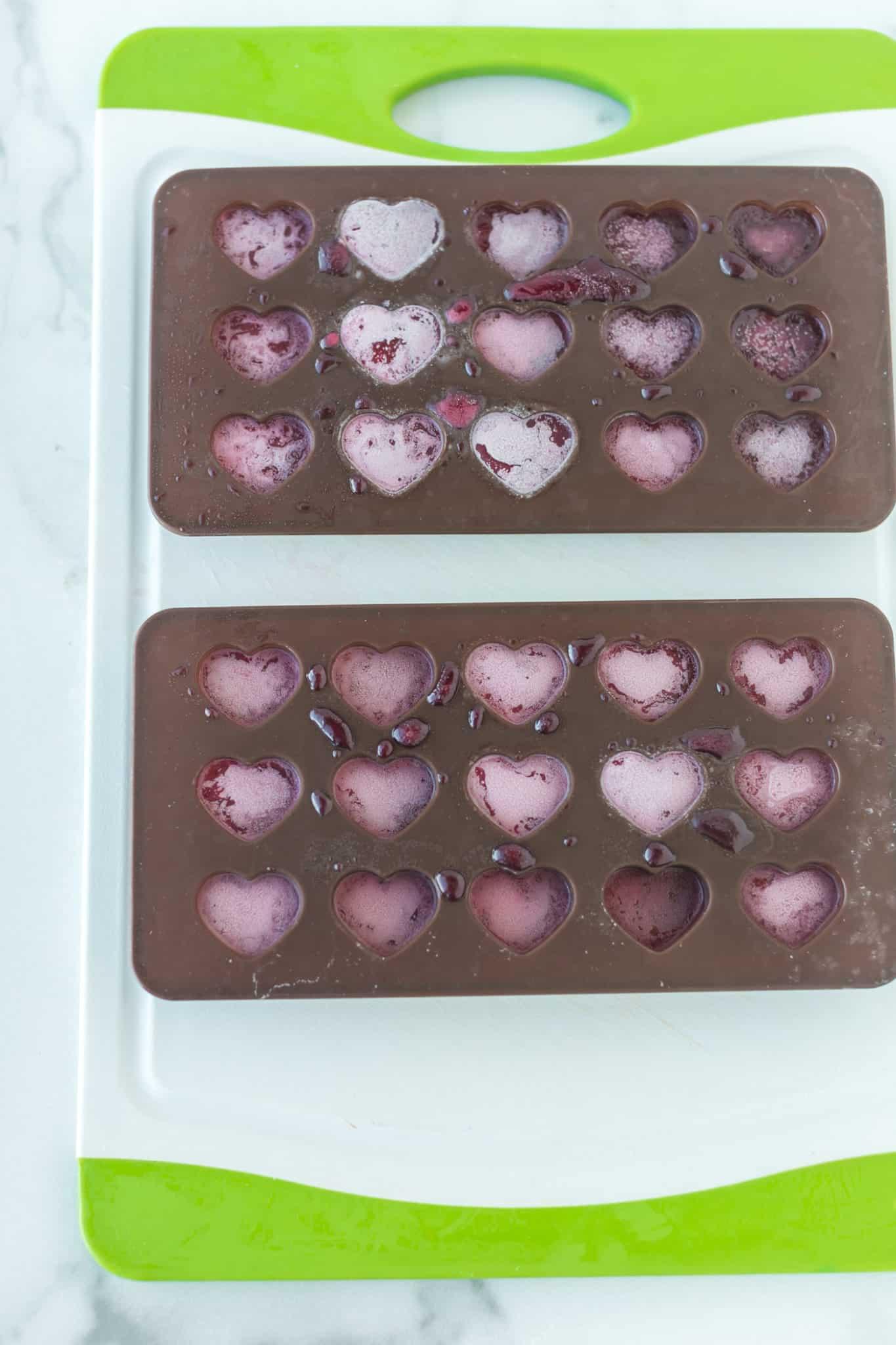 heart shaped gummies set in molds