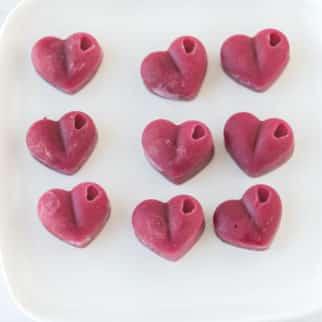 vegan heart gummies on a plate
