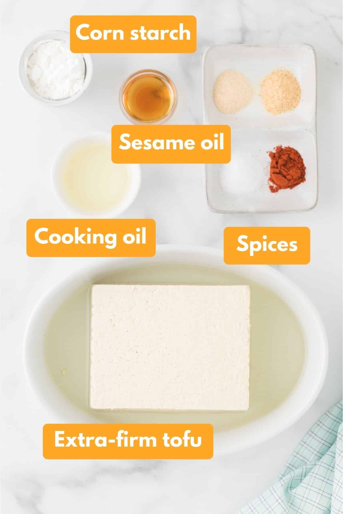 ingredients for crispy tofu