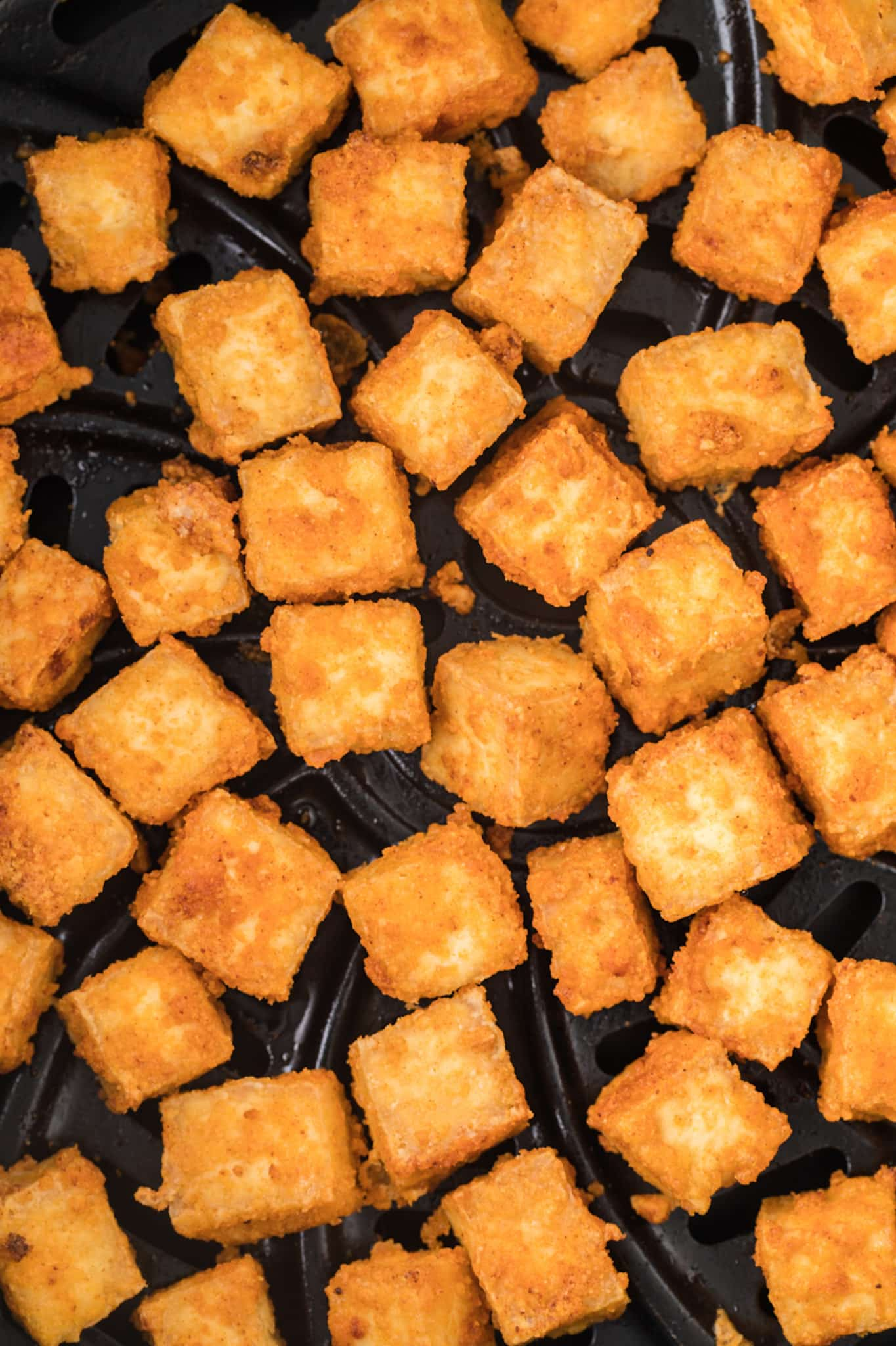 close up of air fryer tofu