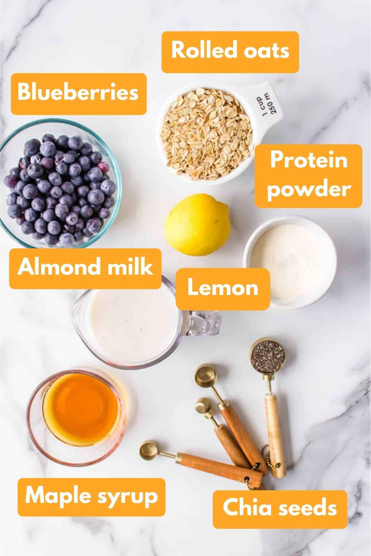 ingredients for blueberry overnight oats