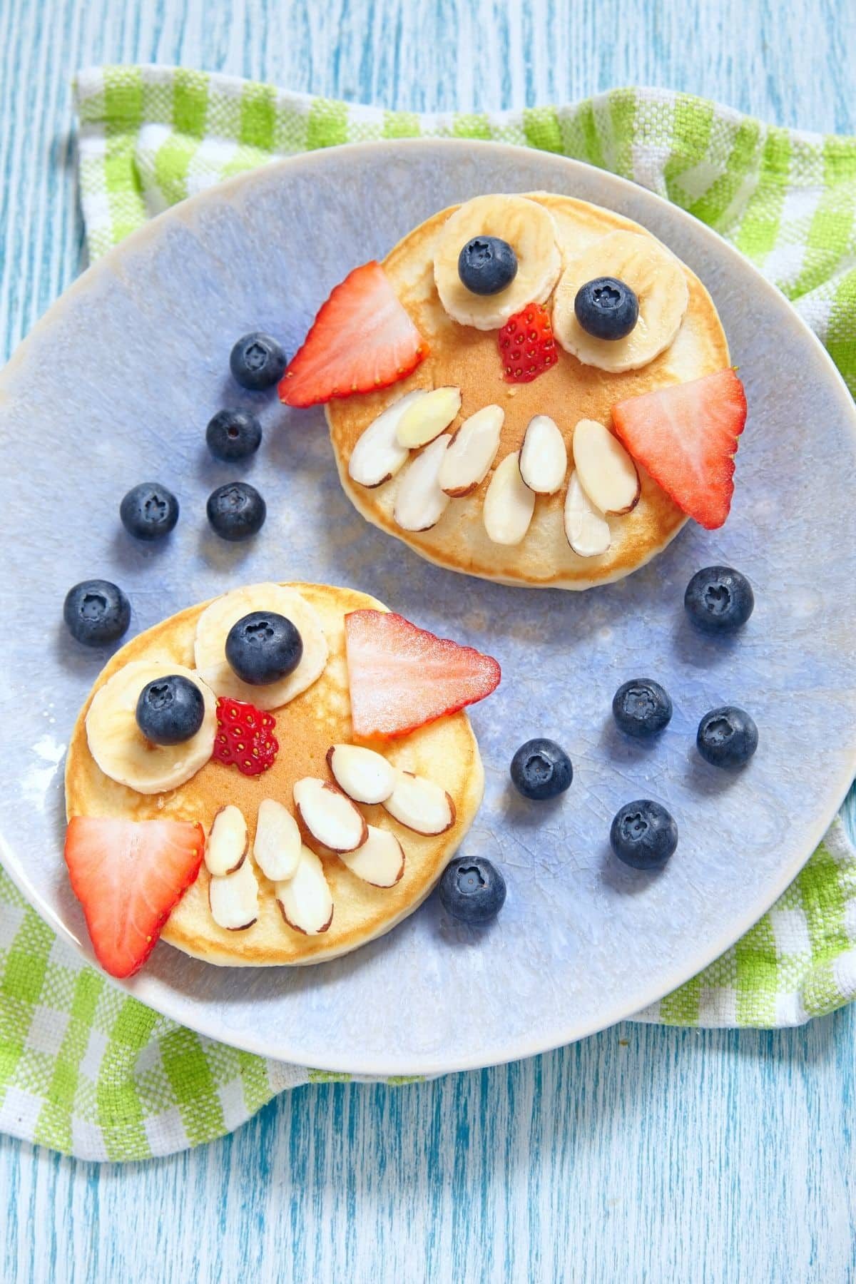 pancake owls with blueberries