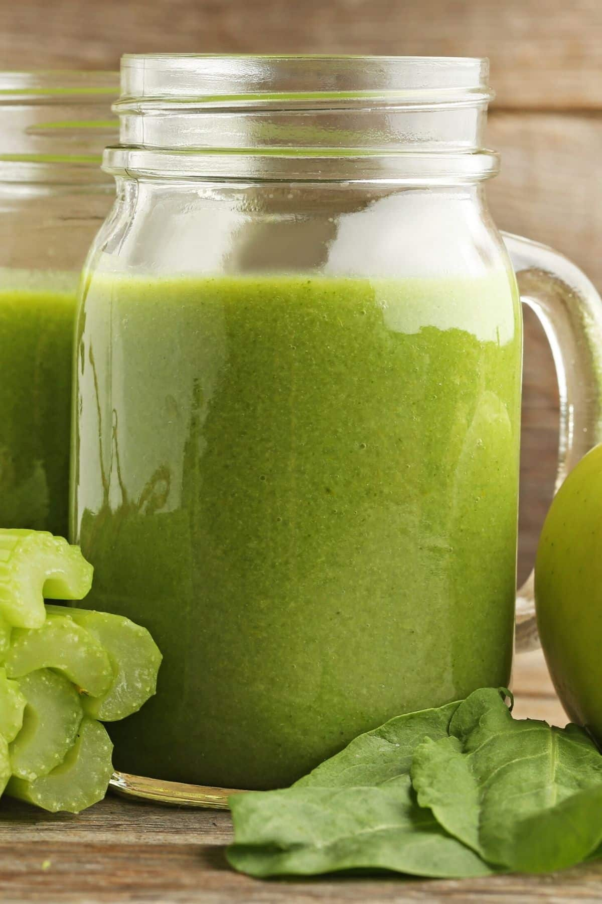 green juice made with celery in a jar