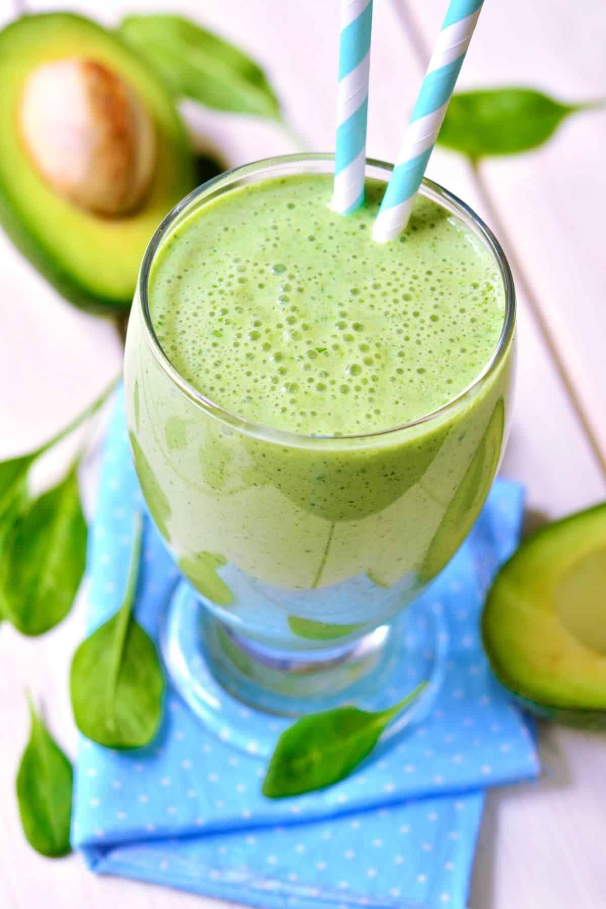 green smoothie made with avocado