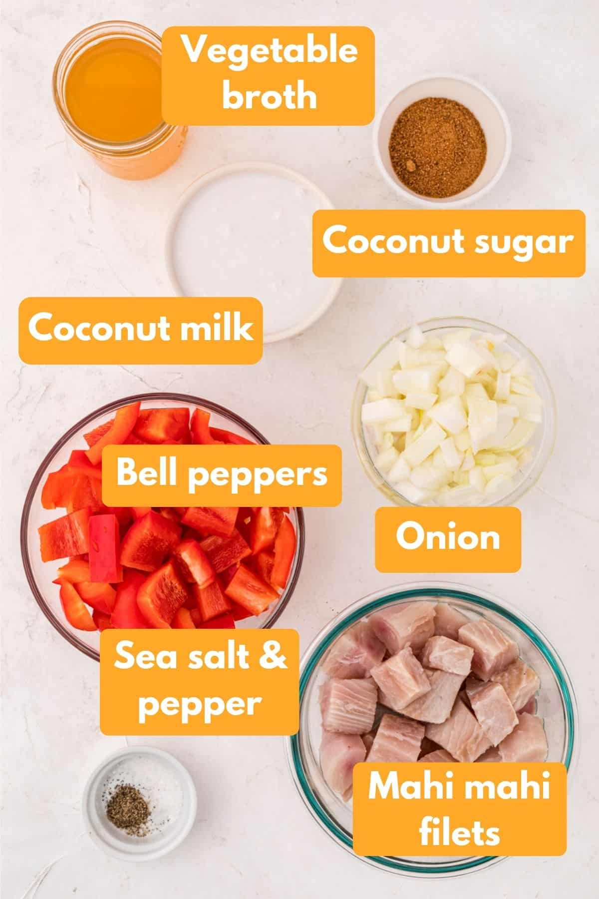 ingredients for coconut mahi mahi