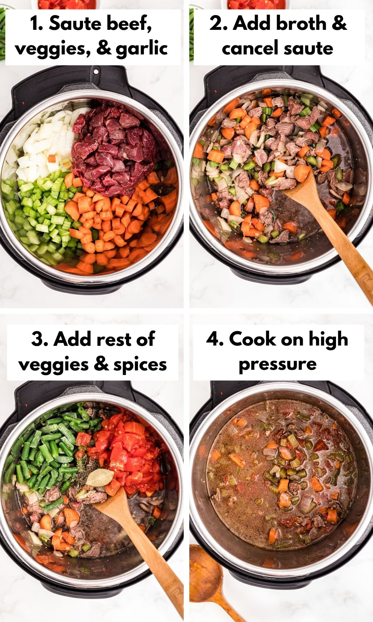how to make vegetable beef soup in the instant pot