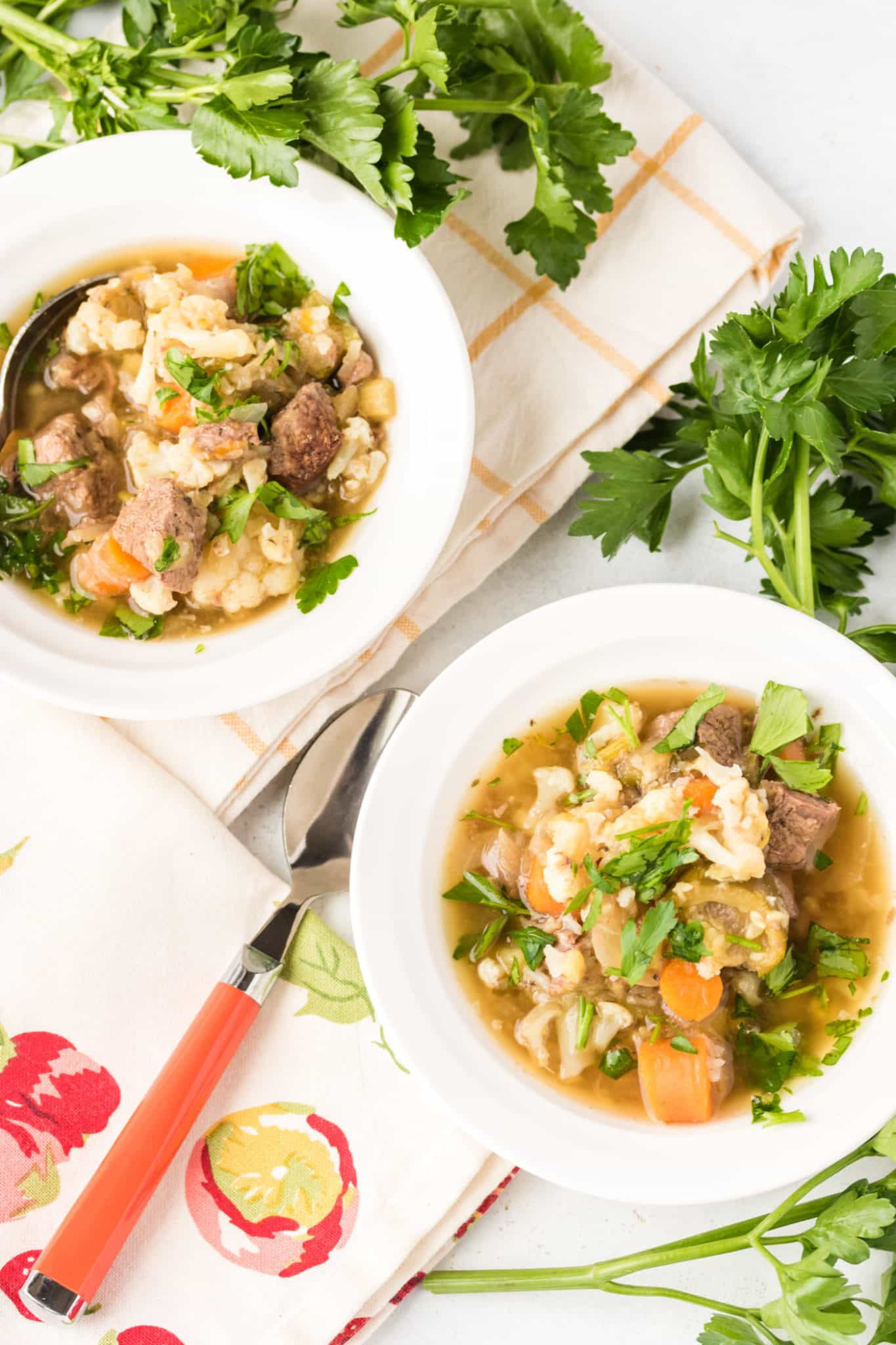 two bowls of venison vegetable stew served in white bowls