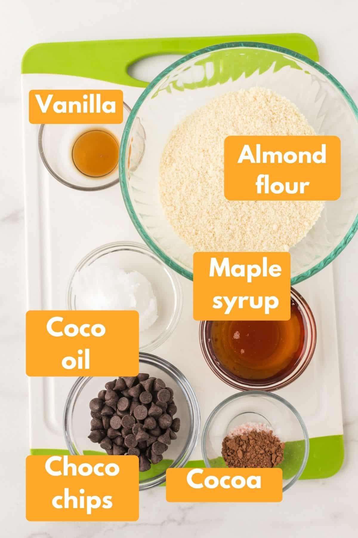 photo with labeled ingredients for making brownie batter