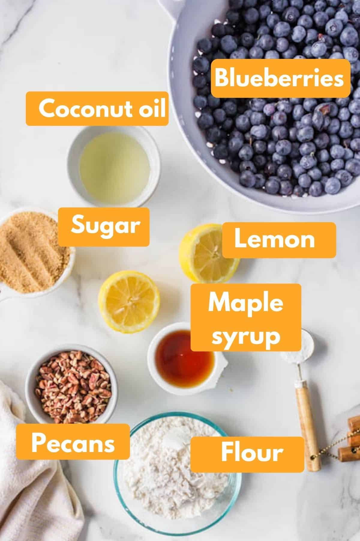 labeled photo with ingredients for blueberry crisp