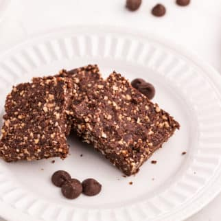 no-bake brownies on a plate