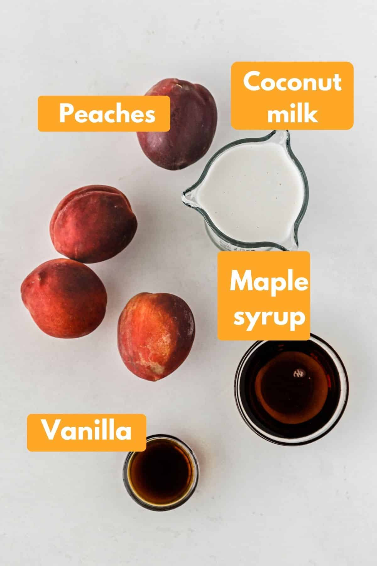photo with labeled ingredients to make vegan peach ice cream