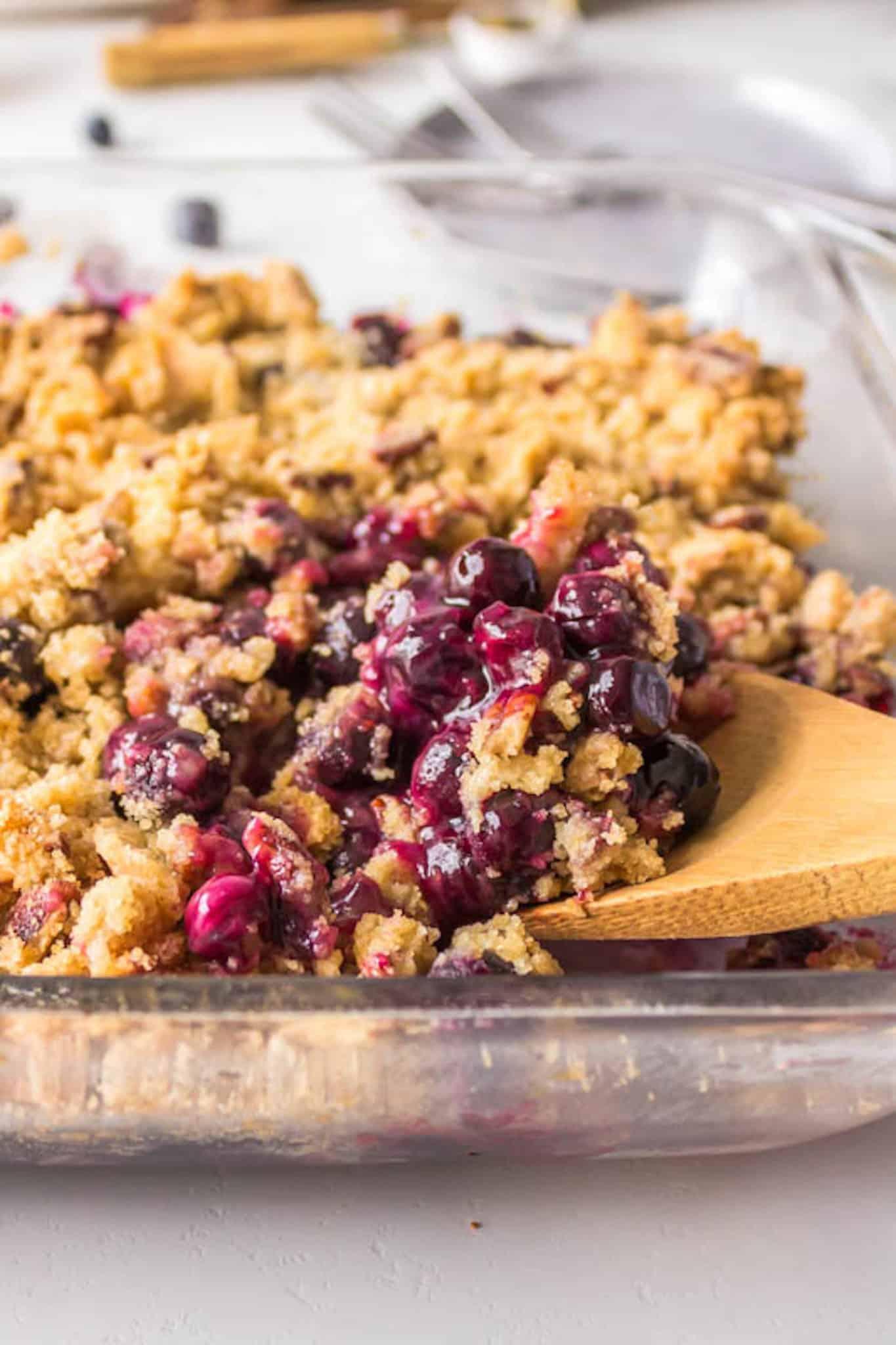 spoonful of blueberry crisp