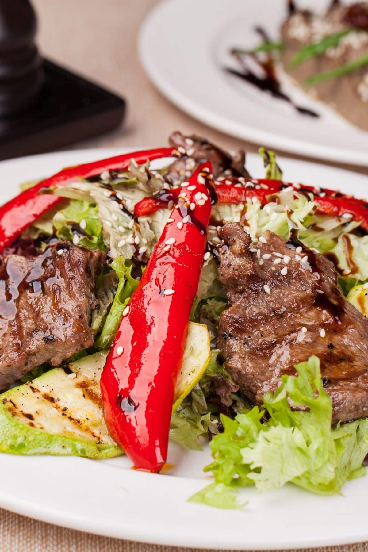steak salad on a plate with veggies