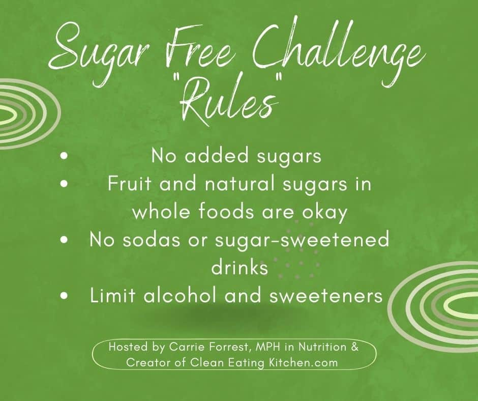 rules infographic for sugar free challenge