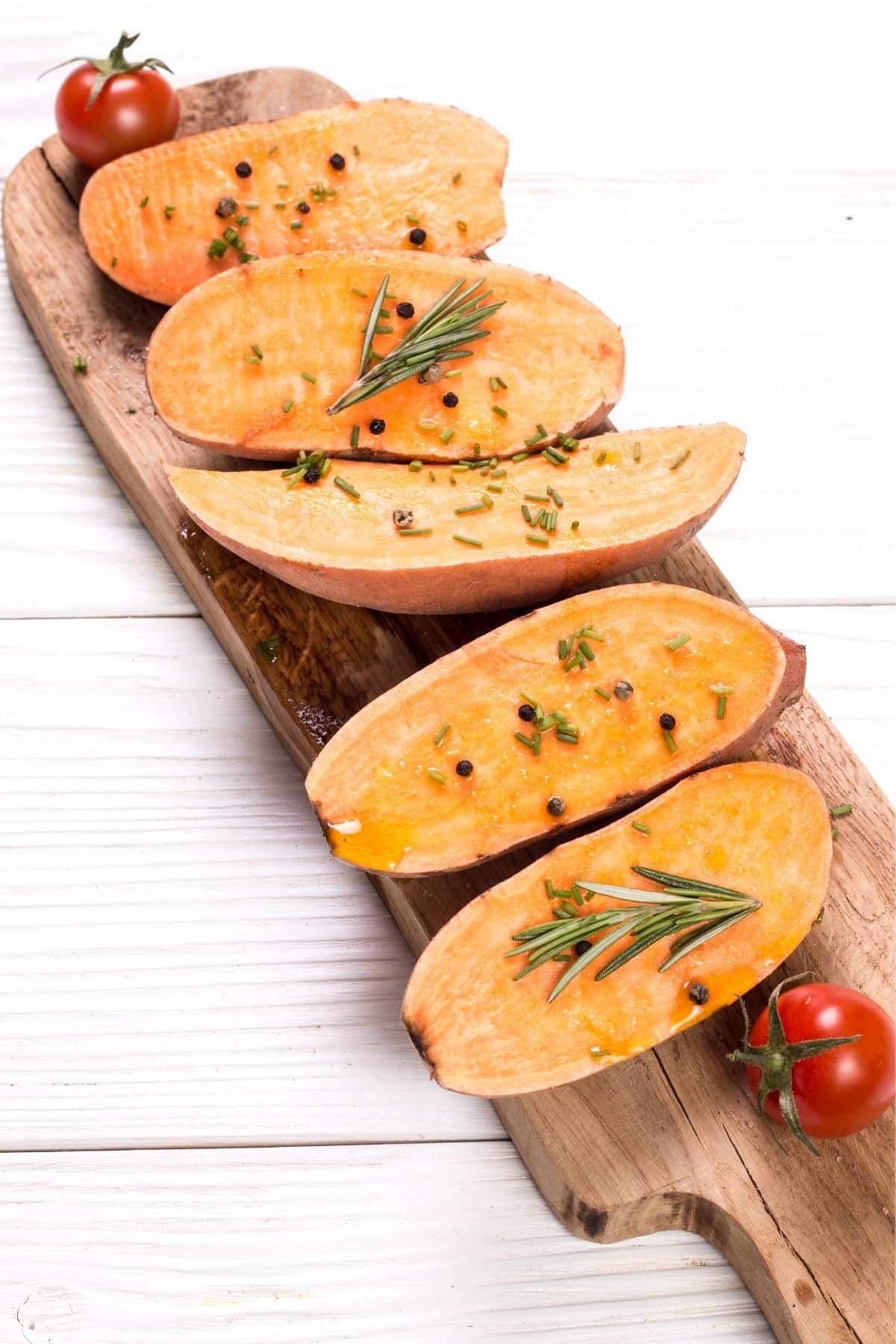 sweet potato toast slices on a serving platter