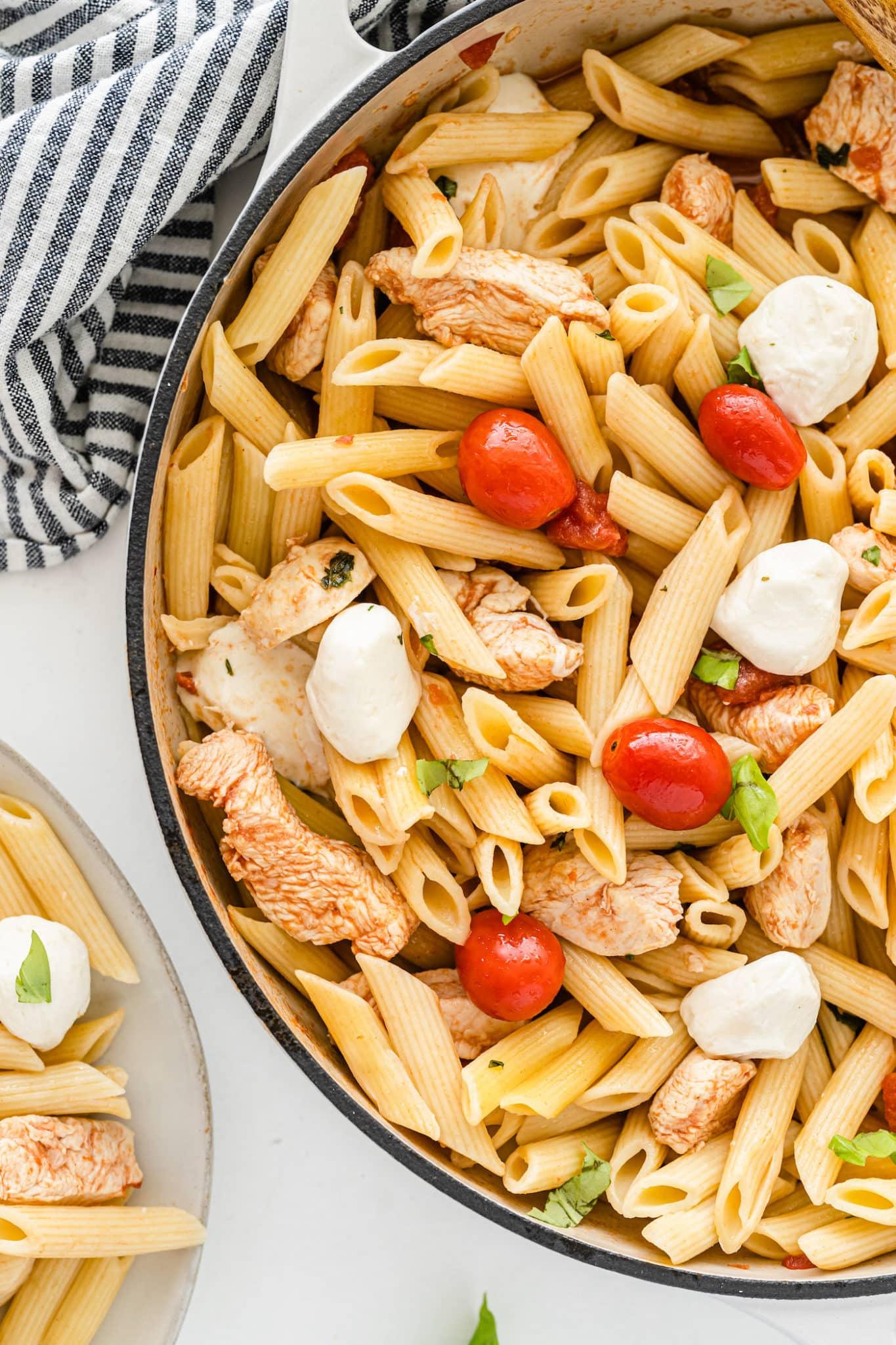 tomato basil pasta in skillet