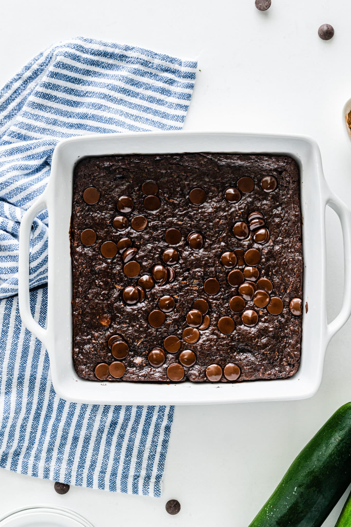 a pan of zucchini brownies