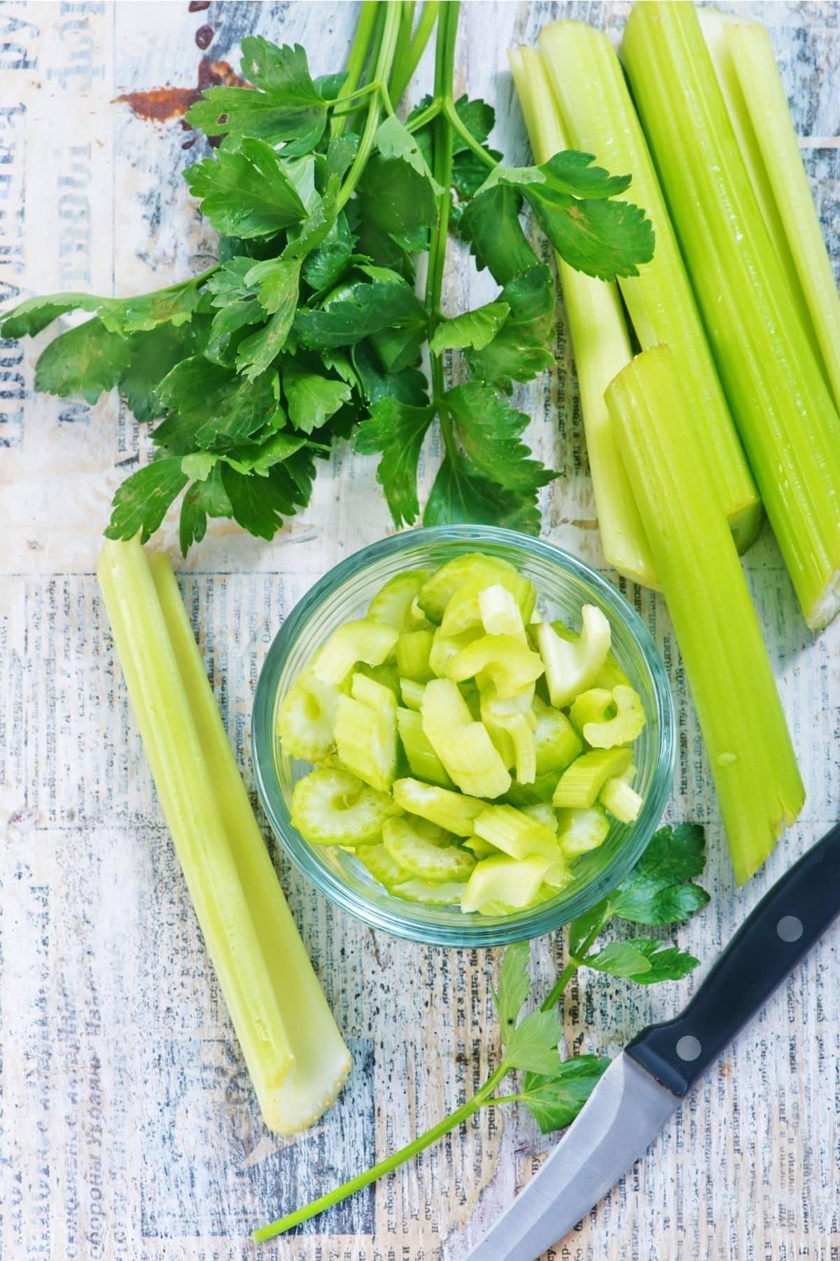 bowl of chopped celery