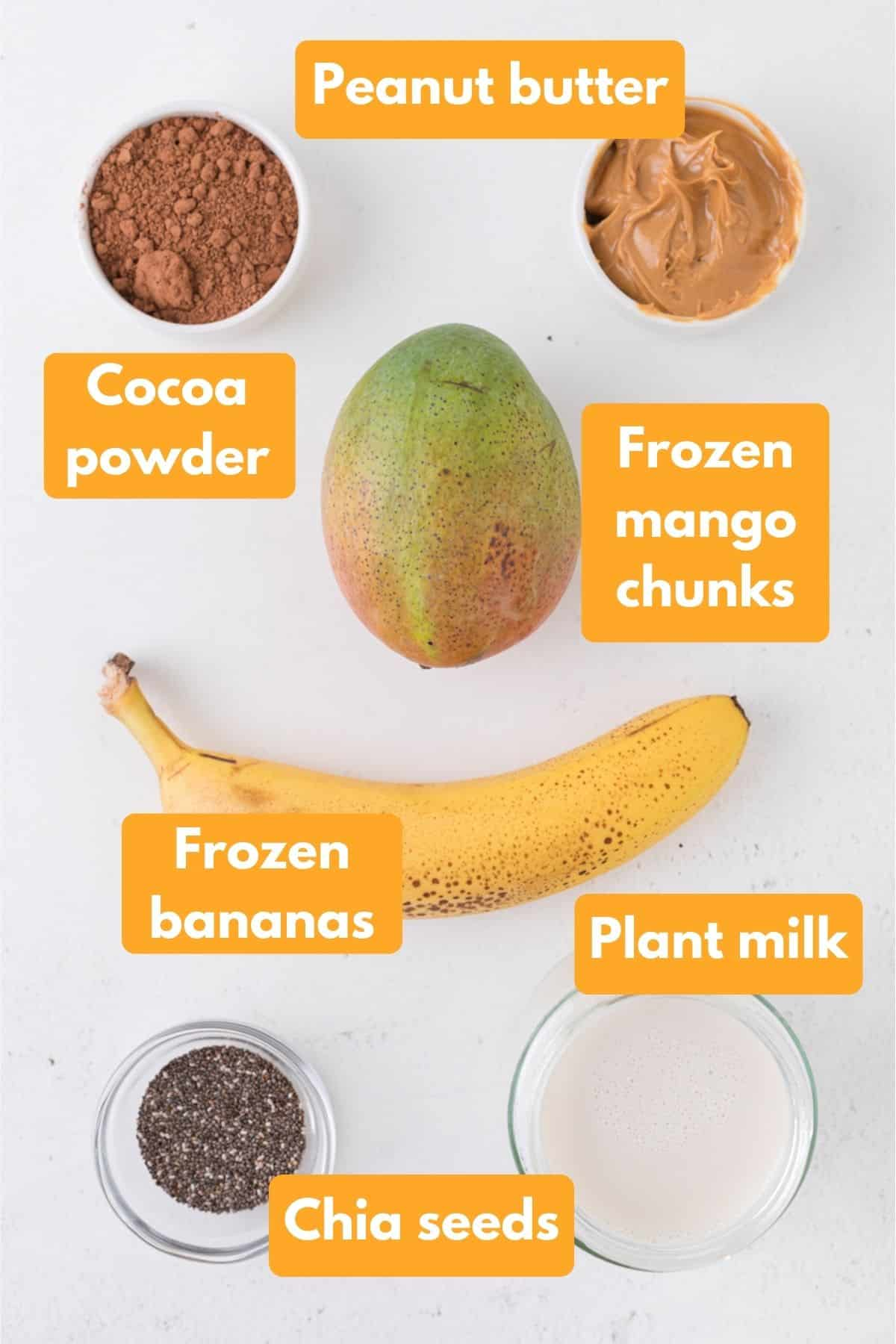 ingredients for a chocolate smoothie bowl