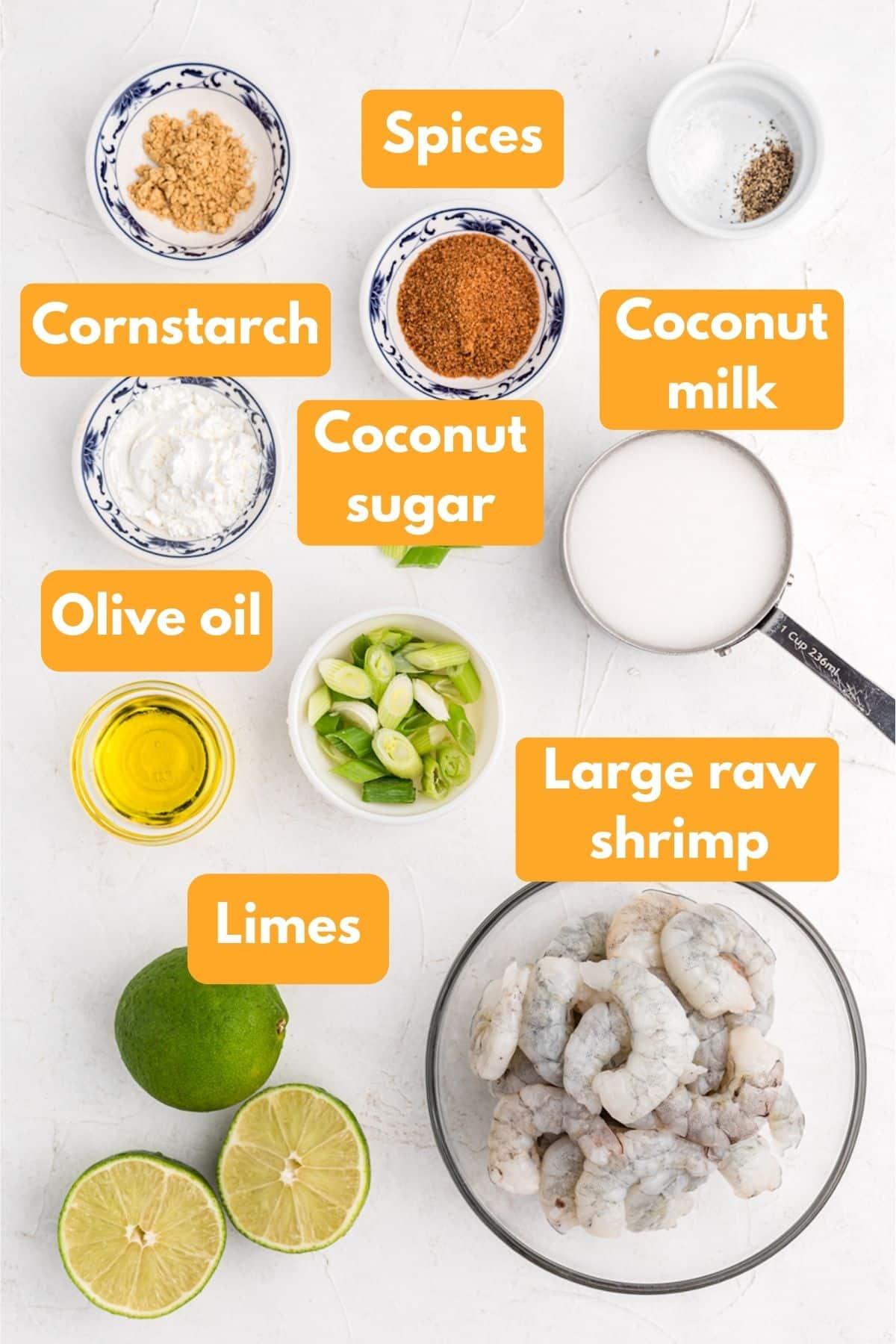 ingredients for creamy coconut shrimp