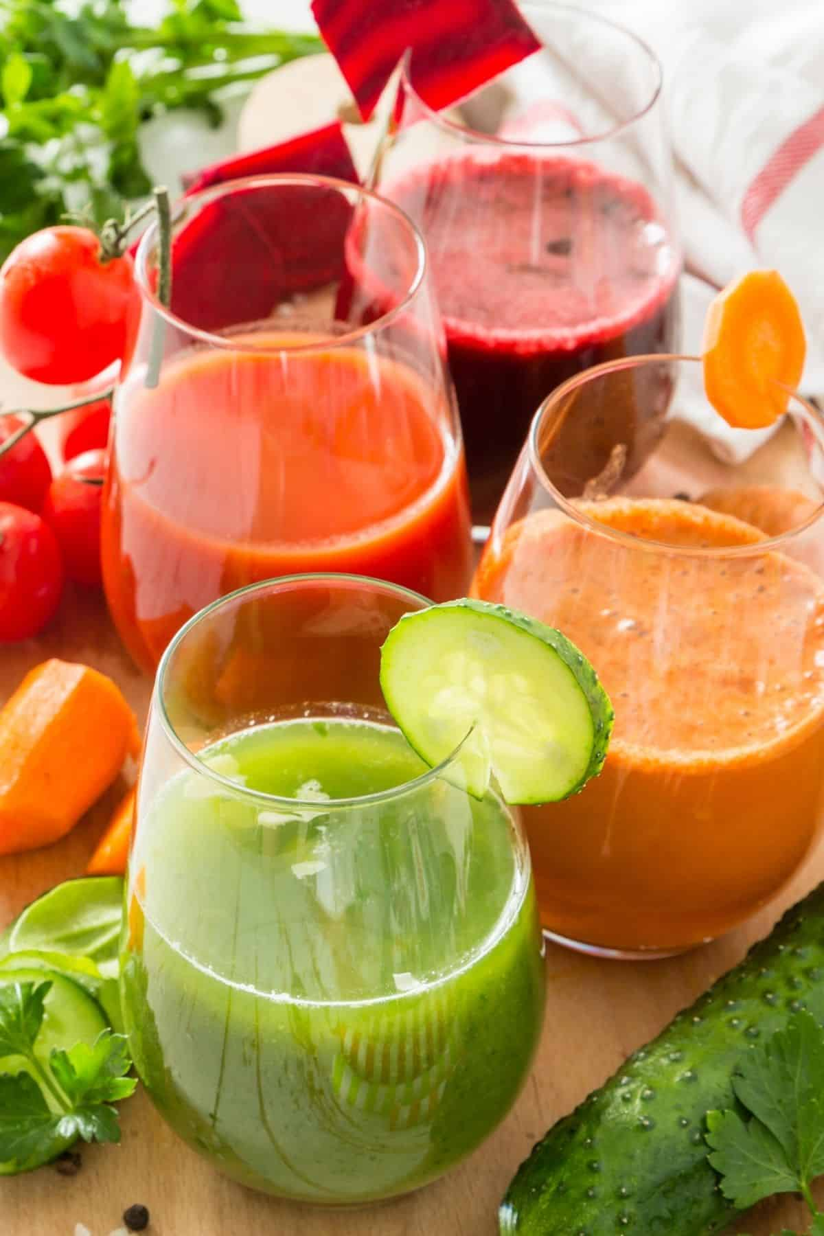 three cups of fresh juice