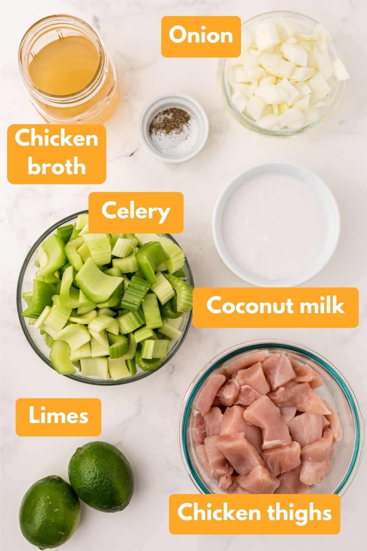 Ingredients for coconut chicken