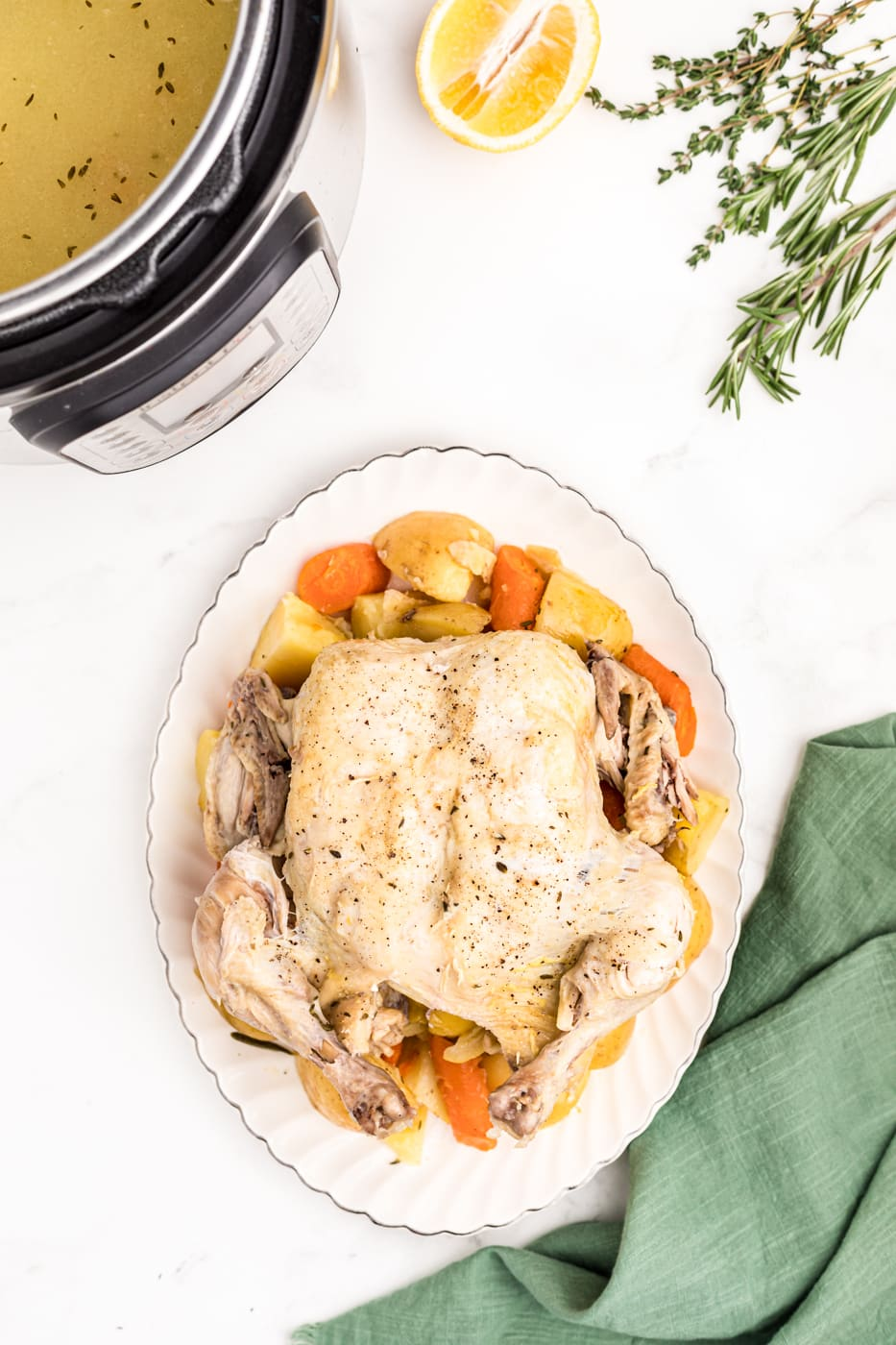 whole chicken with potatoes and carrots