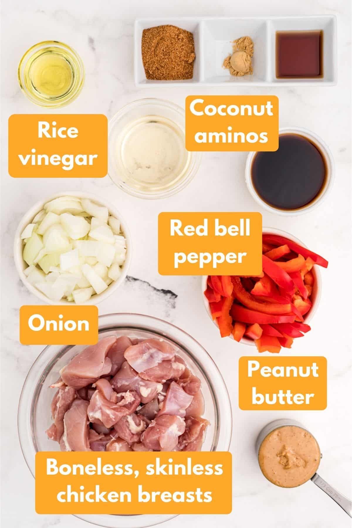 ingredients for peanut butter chicken