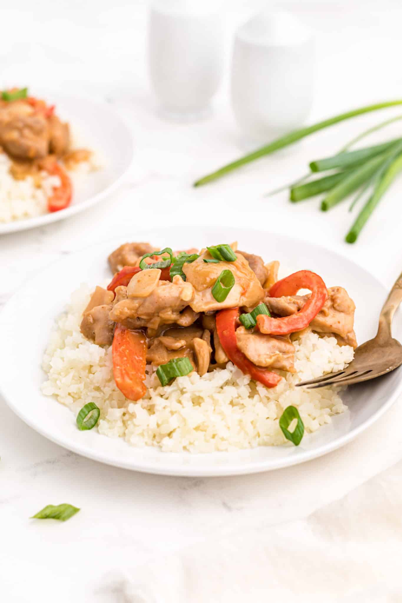 peanut butter chicken with rice
