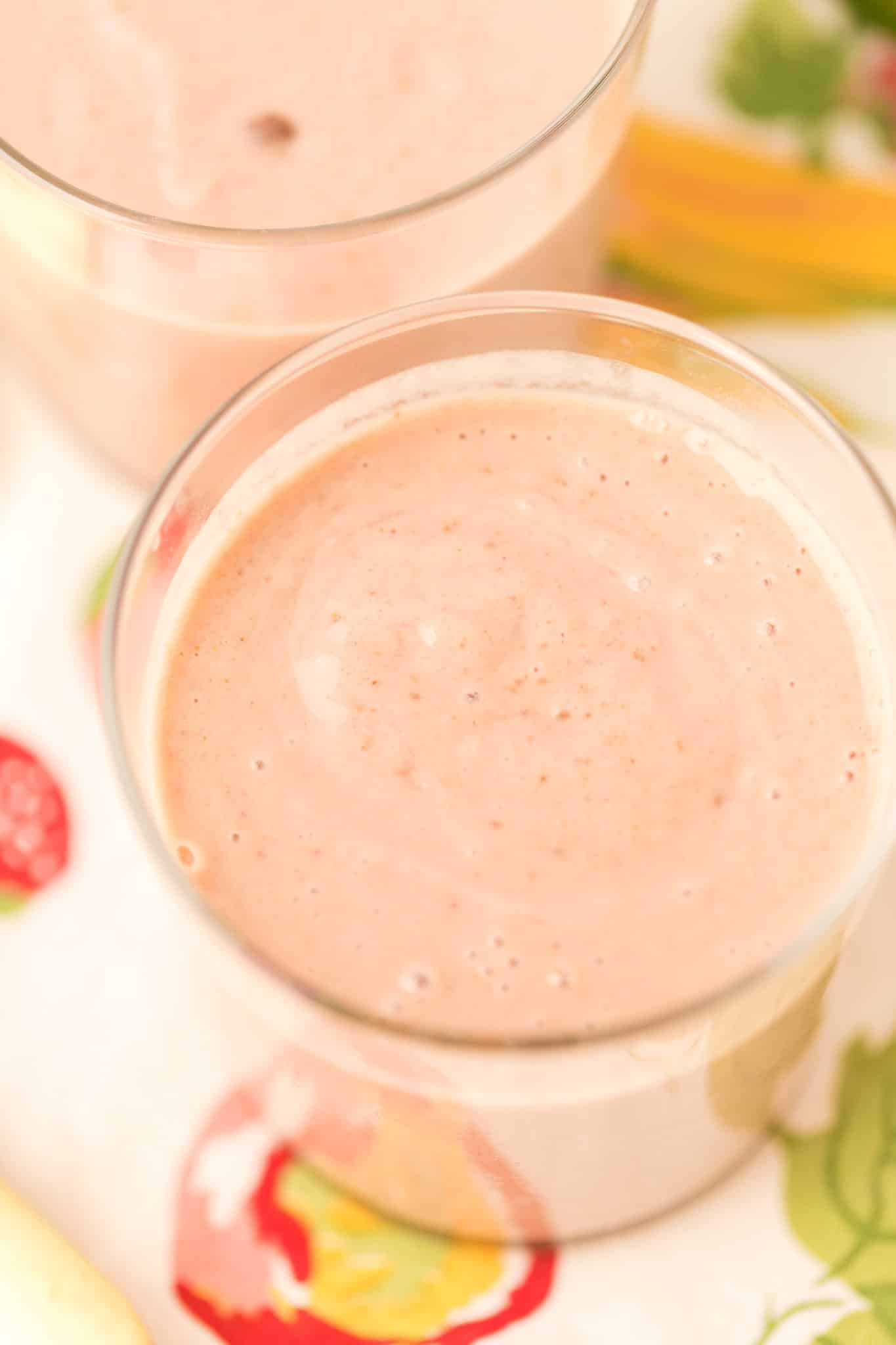 glass of pink smoothie