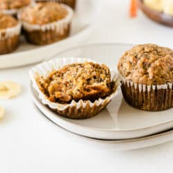 banana carrot muffins served on a plate