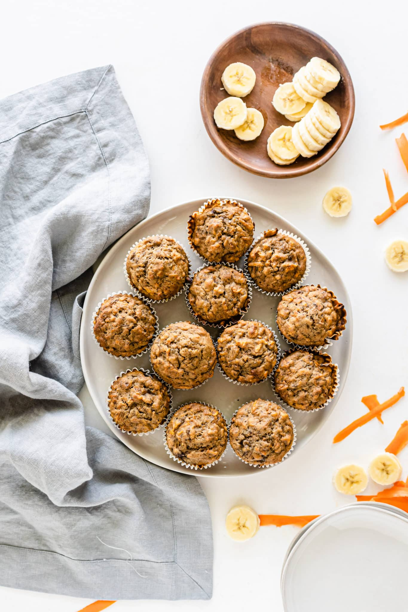 a plate of banana muffins