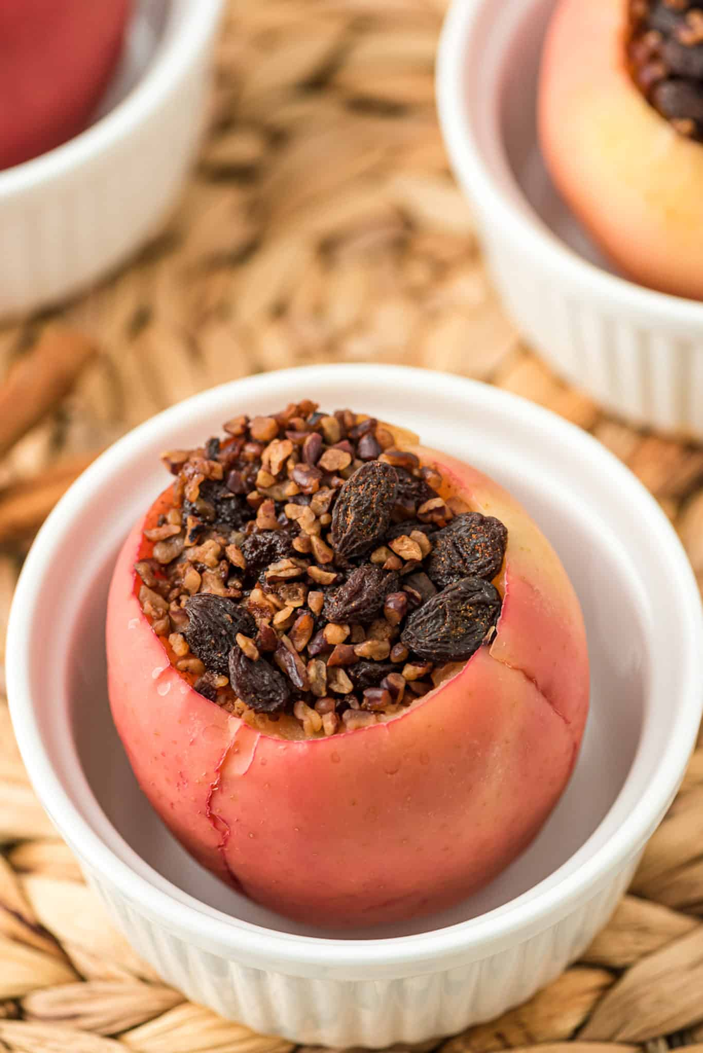 baked apple stuffed with raisins and nuts mixture
