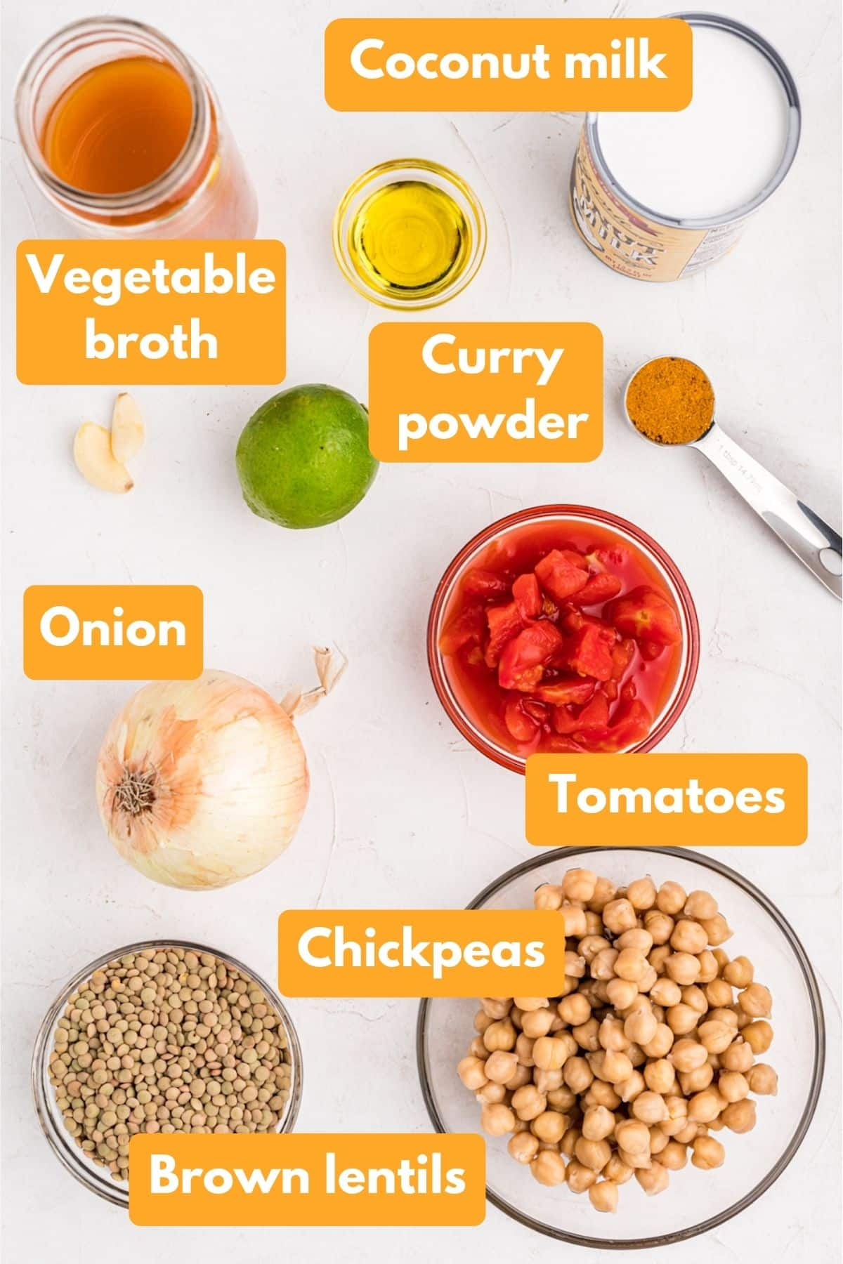 ingredients for chickpea and lentil curry