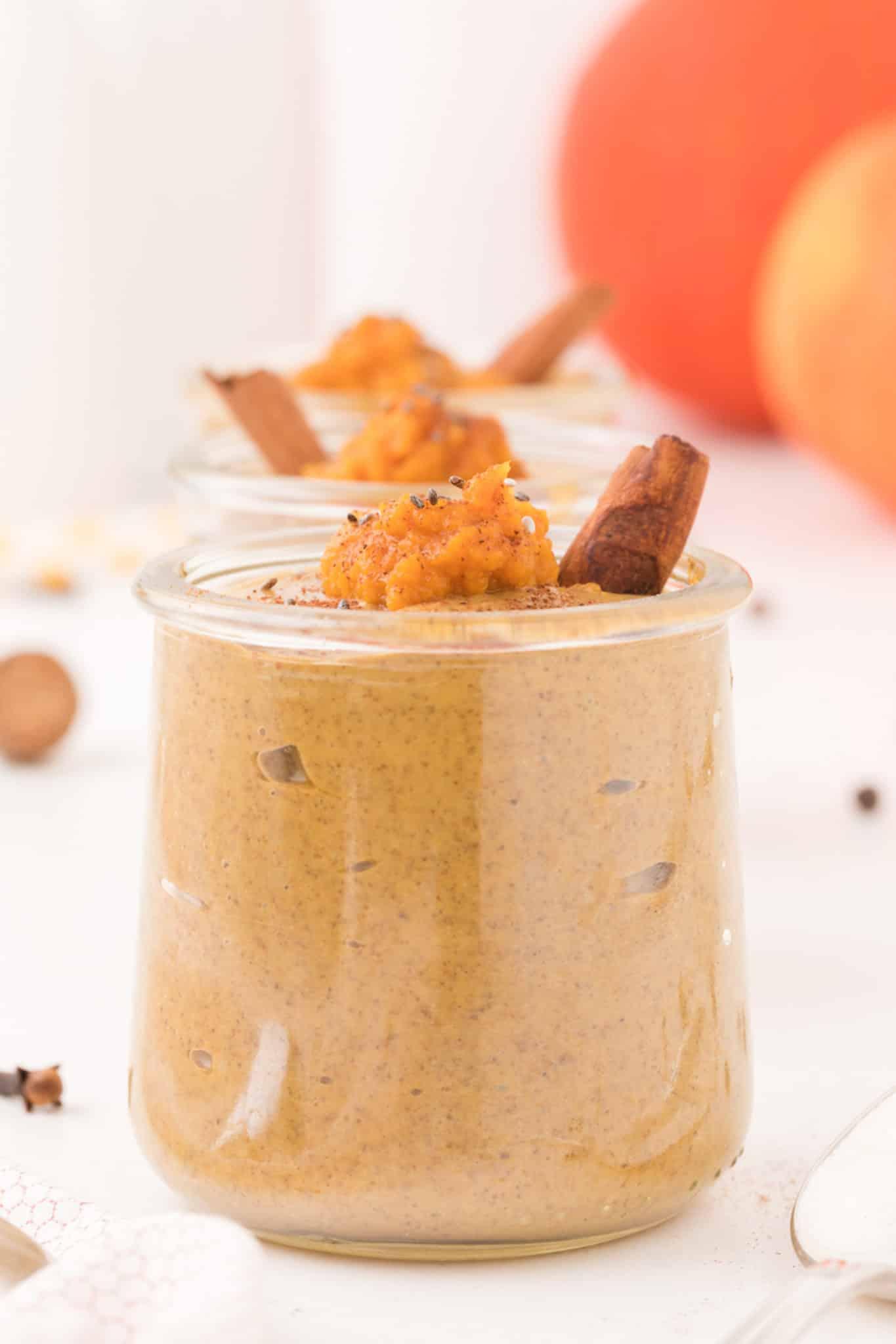 pumpkin chia pudding in a weck jar