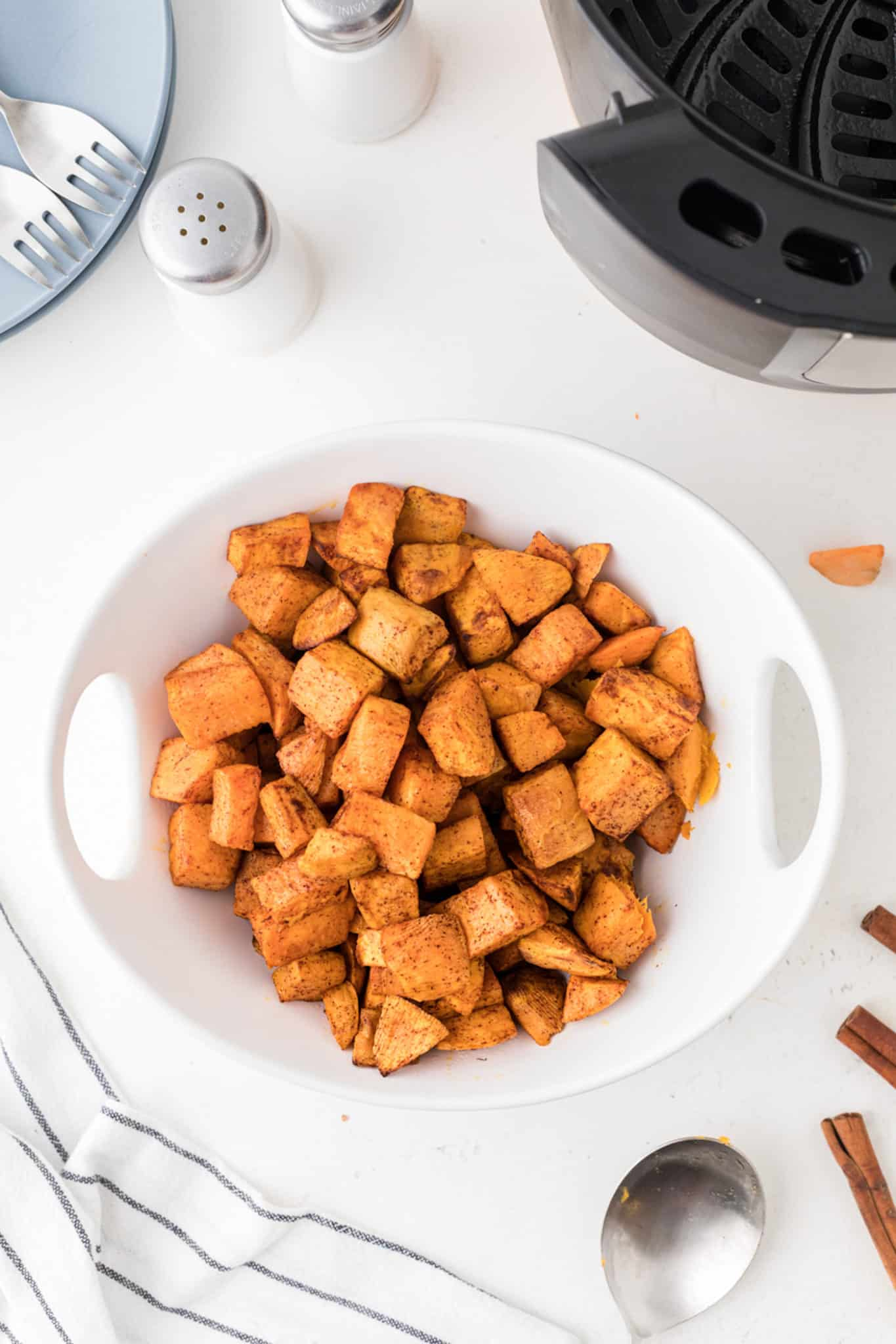 cooked cubed sweet potatoes in bowl