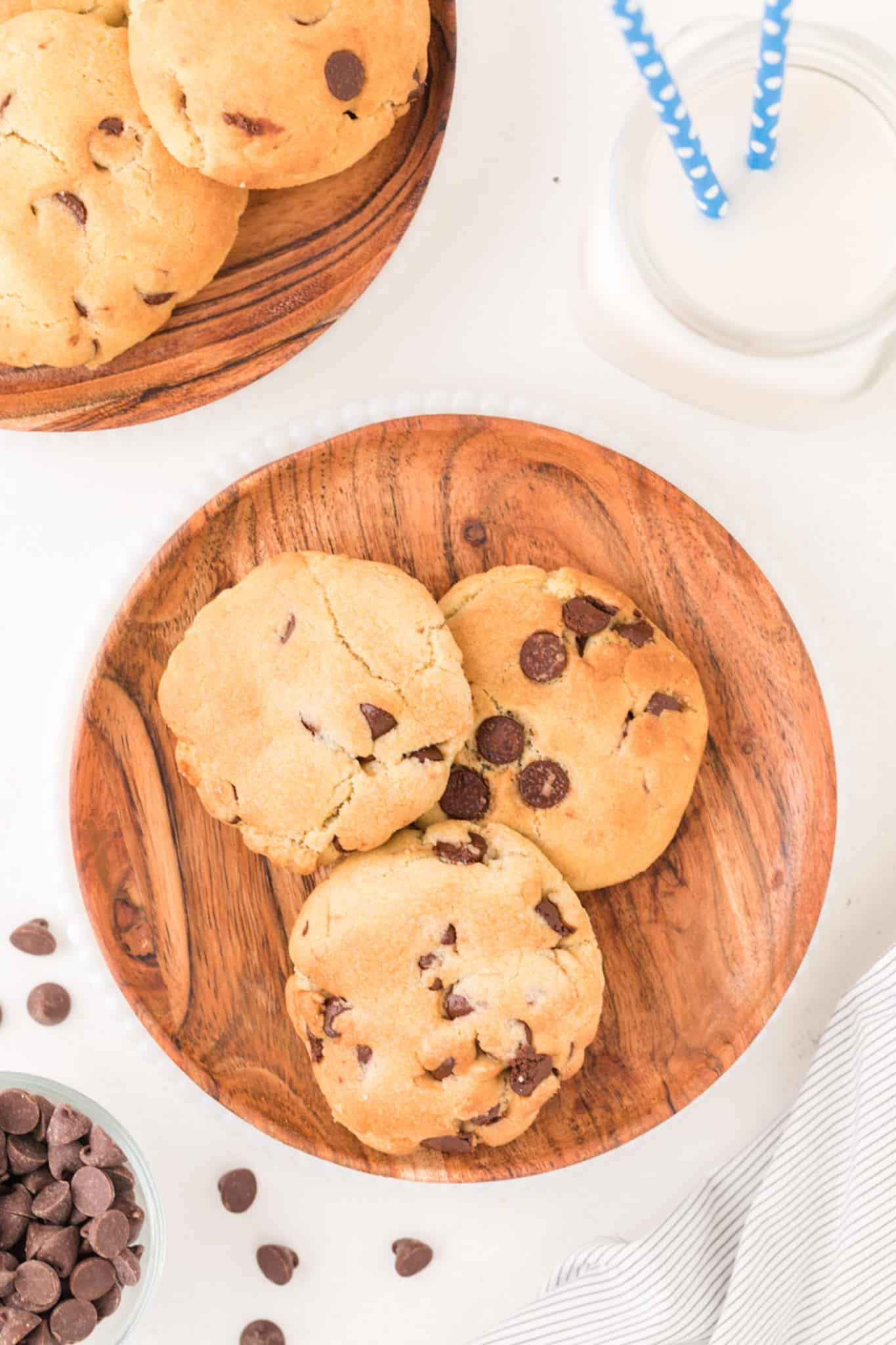 air fryer cookies on a plate with a glass of milk