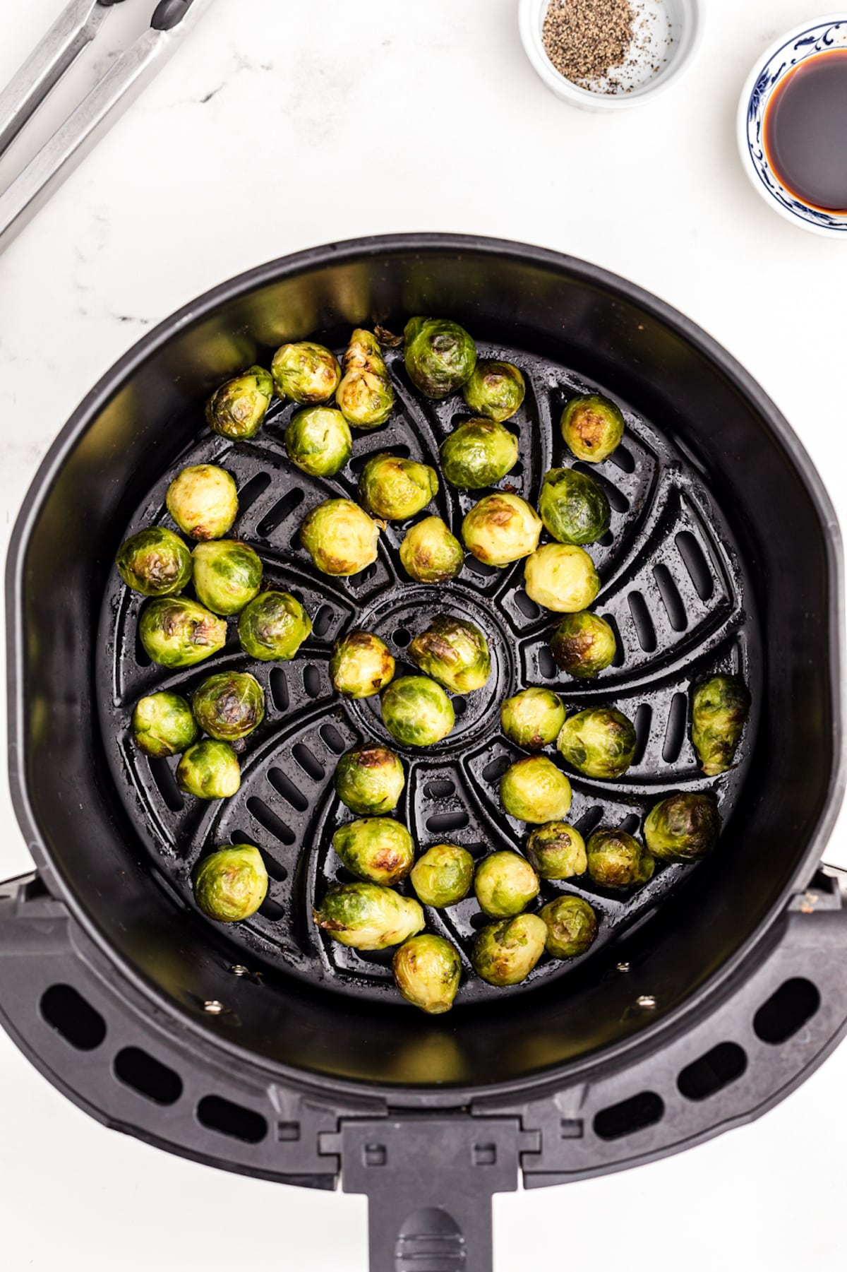 air fried brussels sprouts in basket