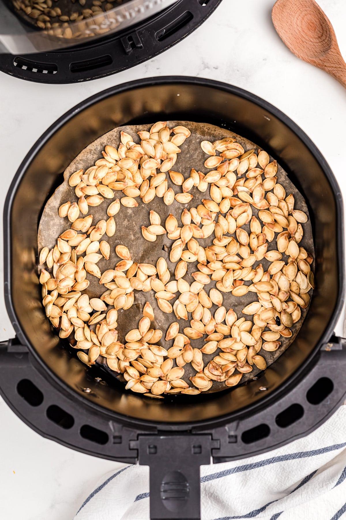roasted pumpkin seeds in an air fryer
