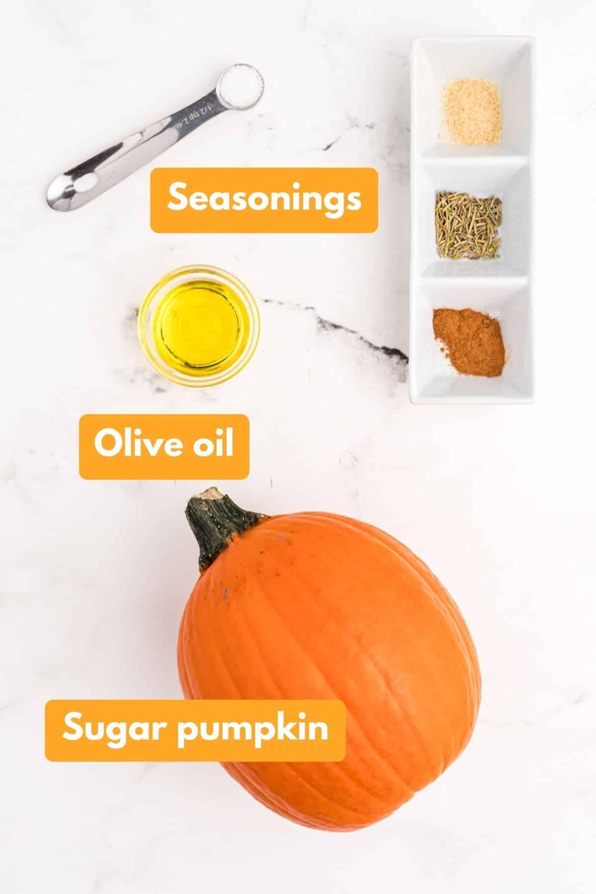 ingredients for air fryer roasted pumpkin
