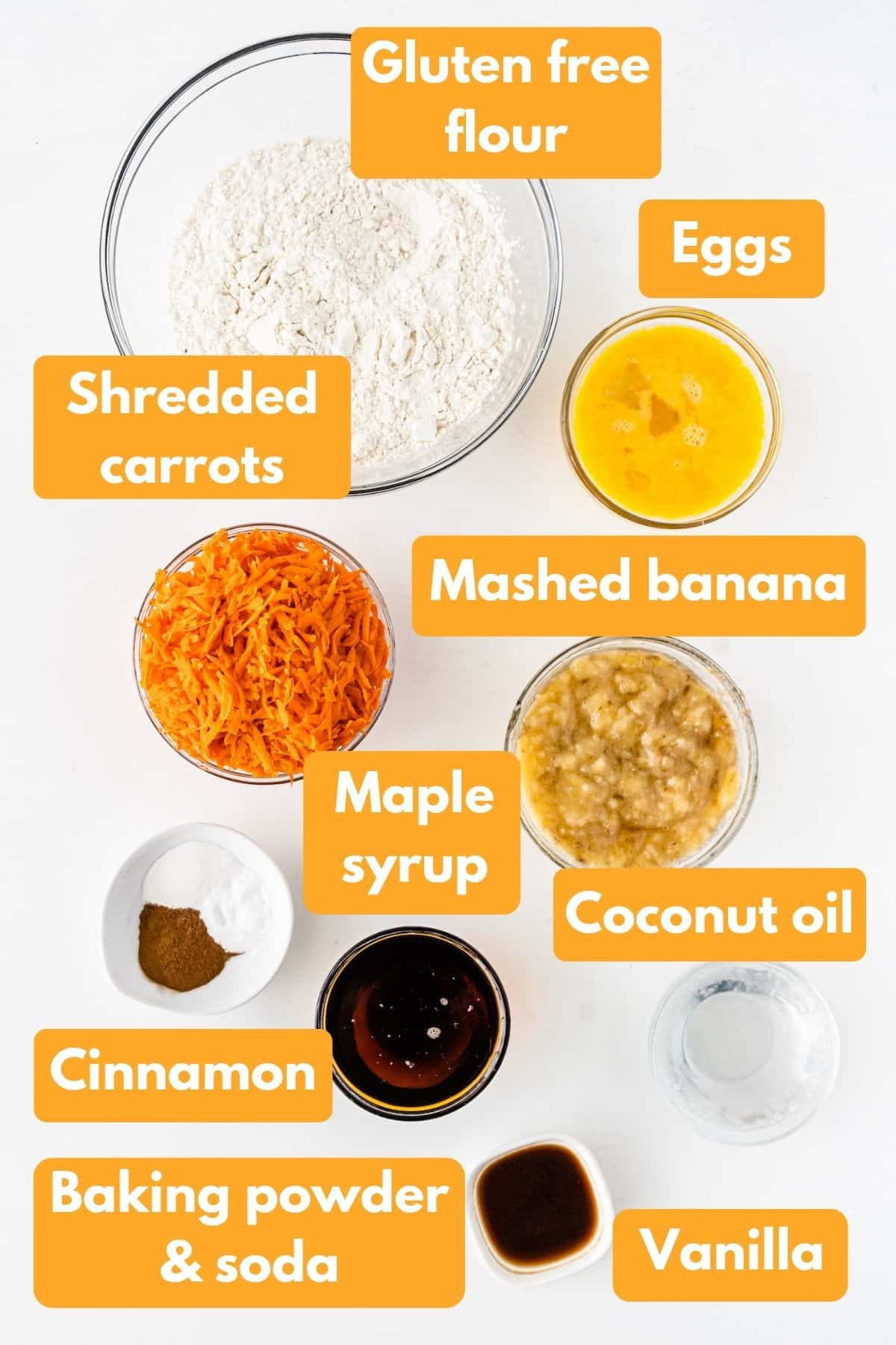 ingredients for banana carrot muffins