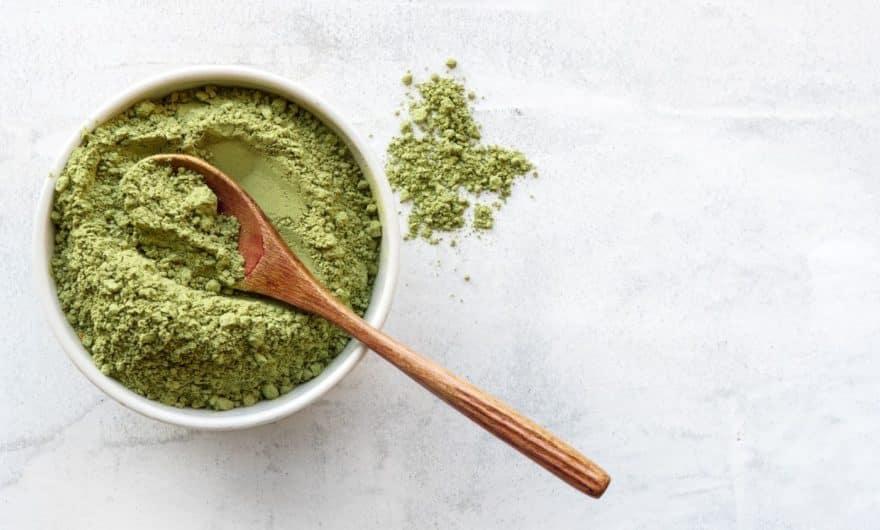 bowl with broccoli powder