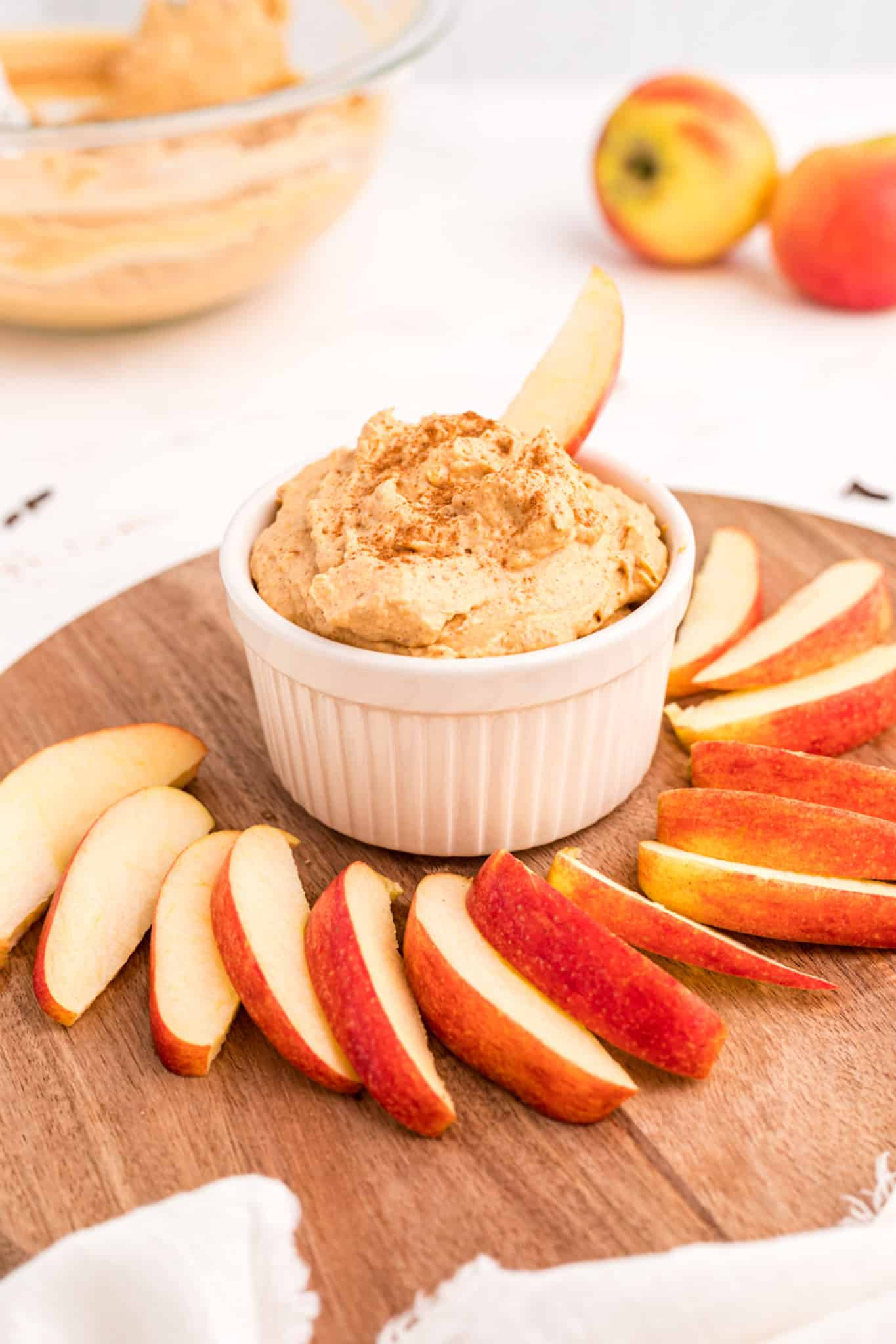 pumpkin dip with sliced apples