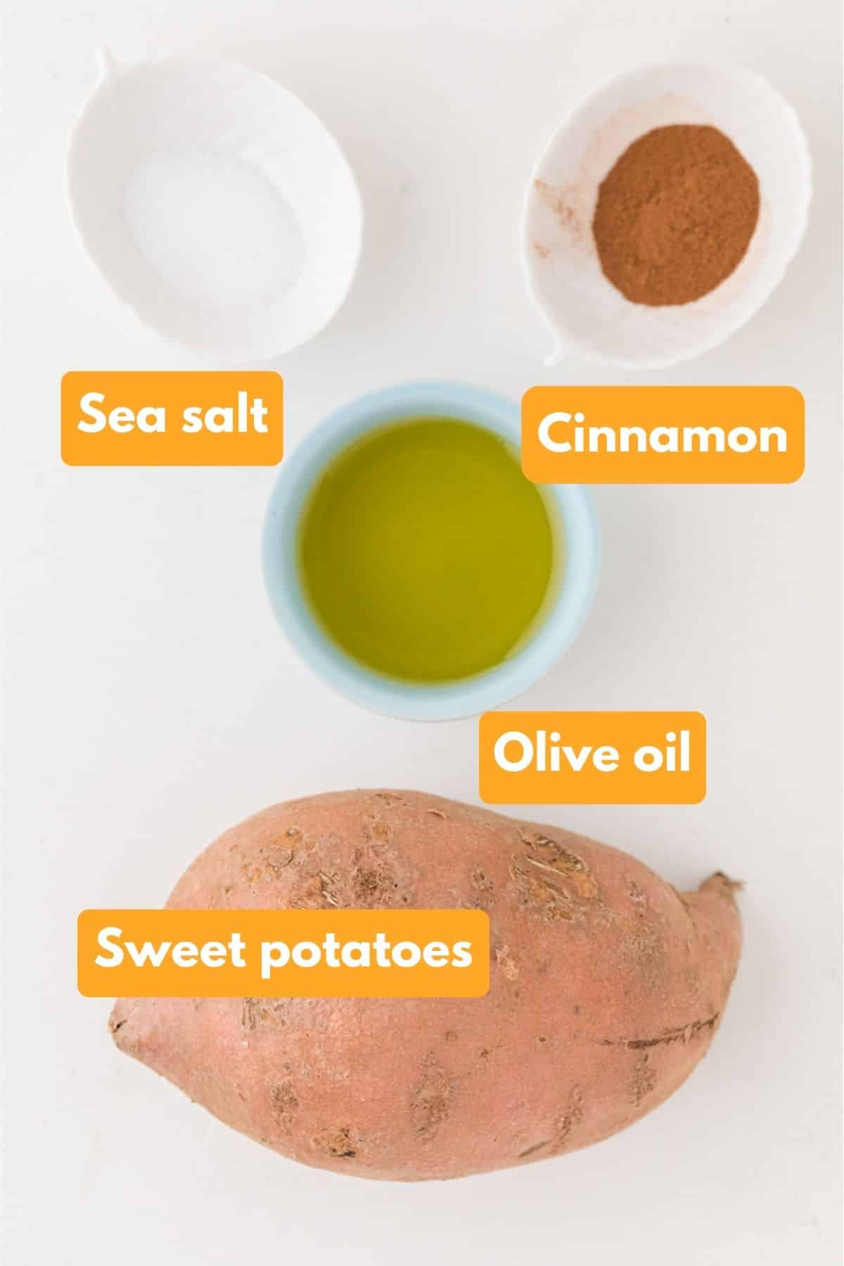 ingredients for air fryer sweet potato cubes