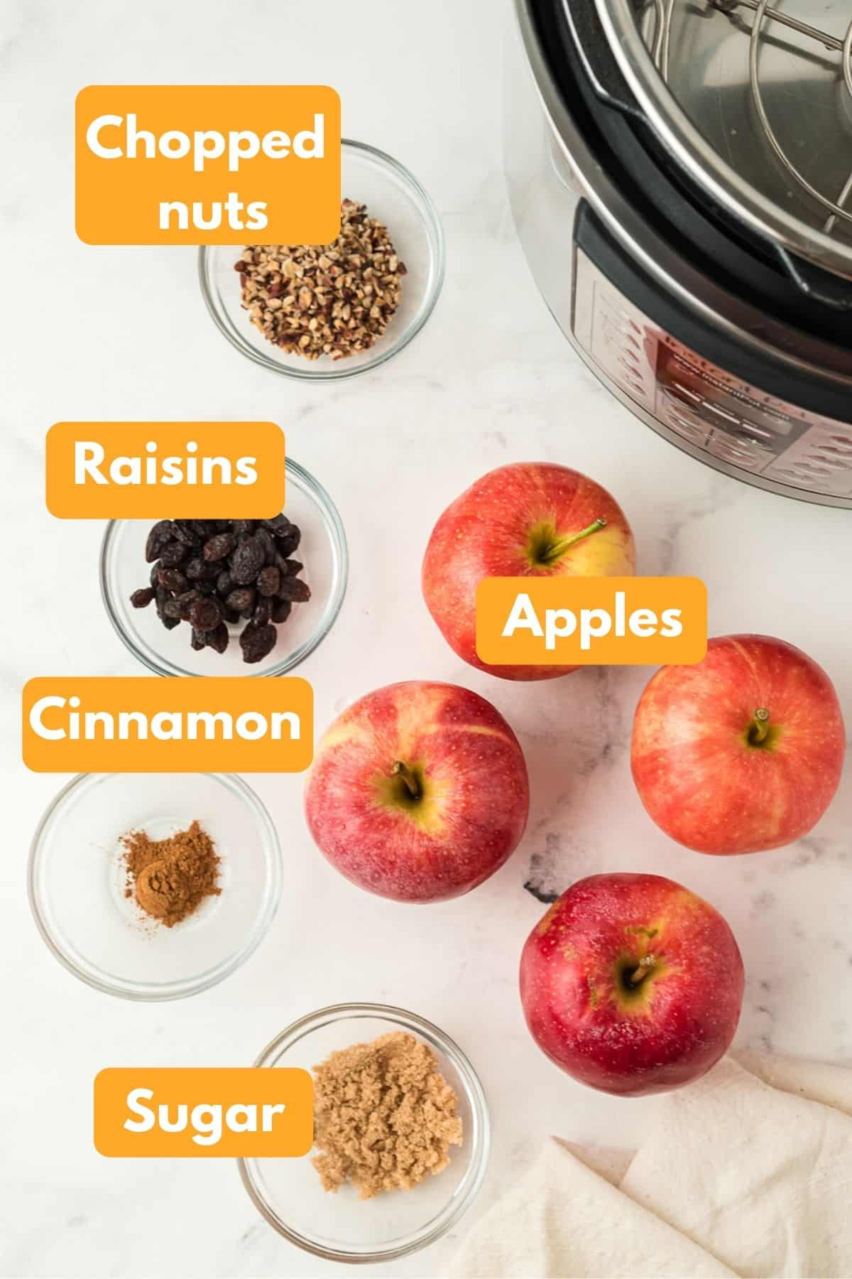 photo with ingredients for instant pot baked apples